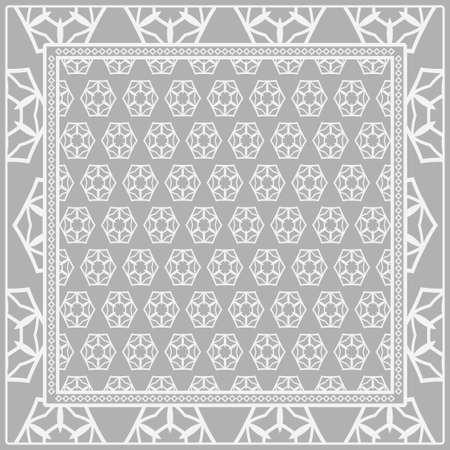 Geometrische Verzierung mit Rahmen, Rand. Art-Deco-Hintergrund. Kopftuch, Schal, Schal, Tischdecke Design