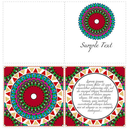 Vintage cards with Floral mandala pattern. Vector template. The front and rear side. Vettoriali