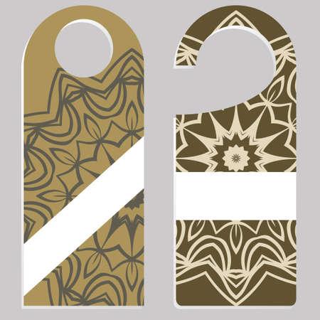 Door hanger with special mandala design. for Room in Home, Hotel, Resort with Floral Mandala Design. Vector illustration.