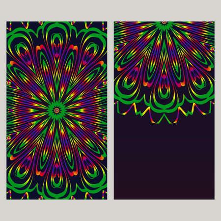 Yoga kaartsjabloon met mandala patroon. Voor visitekaartje, fitnesscentrum, meditatieklas. Vector illustratie