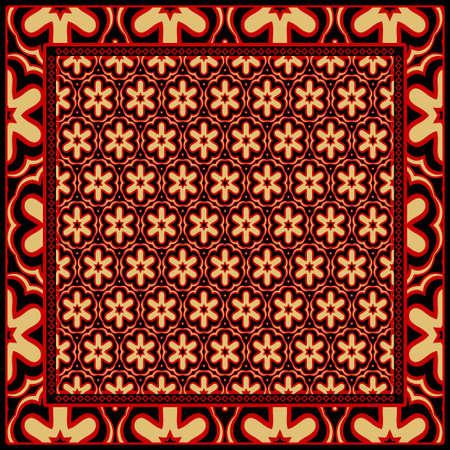 Ontwerp voor vierkante modedruk. Voor zak, sjaal, textiel, bandana. Geometrische bloemmotief. Vector illustratie