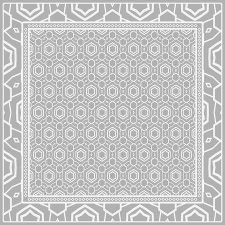 Floral Geometric Pattern. Vector illustration. For fabric, textile, bandana, scarg, print
