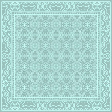 Geometric Pattern with hand-drawing floral ornament. illustration. For fabric, textile, bandana, scarg, print Illusztráció