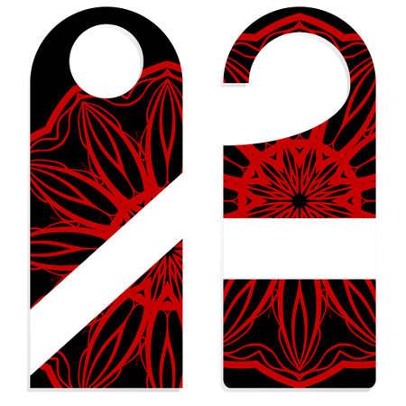 Étiquettes de cintre de porte pour chambre à la maison, hôtel, complexe avec motif floral Mandala. Illustration vectorielle