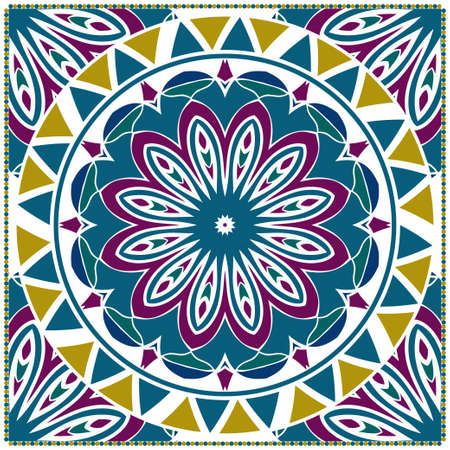 Design with abstract hand drawn floral color mandala pattern with decorative element. Vector illustration. Template design for card, shawl, bandanna, fashion print.