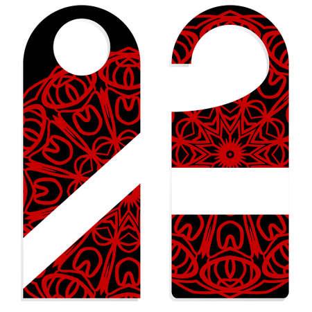 Cintre découpé. Shablon vide avec ornement floral mandala. Illustration vectorielle. signes d'étiquette volante de porte d'hôtel.