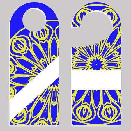 Door hanger with special mandala design. Vector illustration. For hotel, sale.
