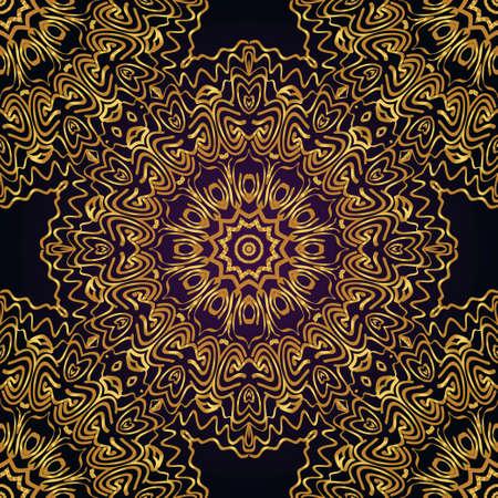 Decorative colorful floral ornament with decorative border. E For fashion print, bandanna, tablecloth.  イラスト・ベクター素材