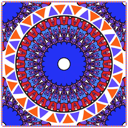 Traditional ornamental floral mandala pattern. For design of carpet, shawl, pillow, cushion. Vector illustration.