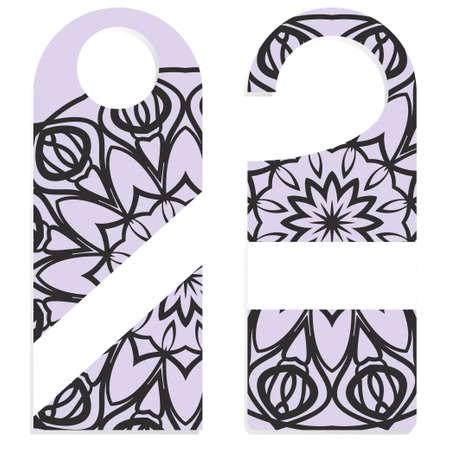 Door hanger mockup isolated on white background. Design with floral mandala ornament. Vector illustration.
