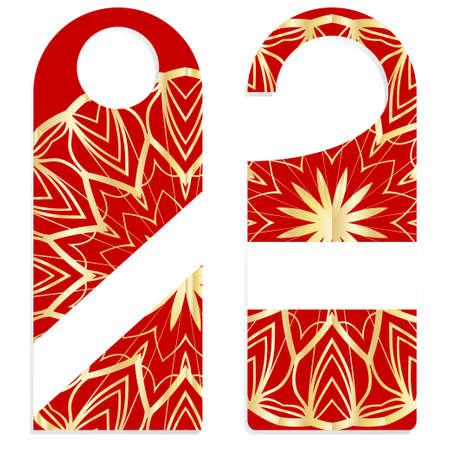 Bouton de porte ou signe de cintre avec motif floral mandala. illustration vectorielle de dessin animé Vecteurs