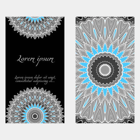 Set of Template greeting card, invitation with space for text. Mandala design. Vector illustration.