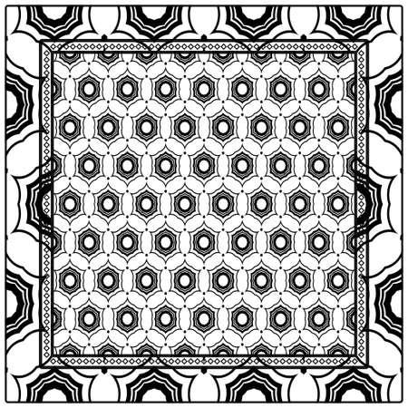fondo, patrón geométrico con marco de encaje adornado. ilustración. para Estampado de Bufanda, Tela, Fundas, Scrapbooking, Bandana, Pareo, Chal Ilustración de vector