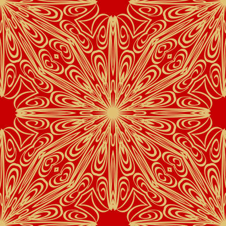 Ornamental floral print with color seamless ornament. For design of carpet, shawl, pillow, cushion. Vector illustration.