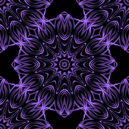 Geometrisches Blumenmuster mit Handzeichnung nahtlos. Illustration. Für Stoff-, Textil-, Bandana-, Kissenteppich-Druck