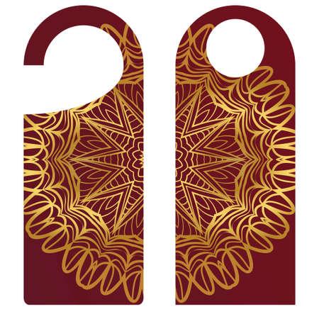 Bouton de porte ou signe de cintre avec motif floral mandala. illustration vectorielle de dessin animé.
