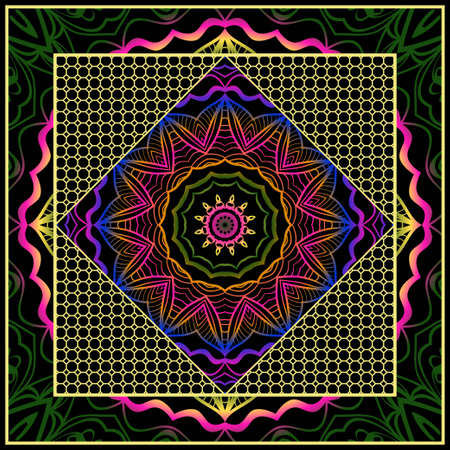 Floral Geometric Pattern with hand-drawing Mandala. illustration. For fabric, textile, bandana, pillowcarpet print