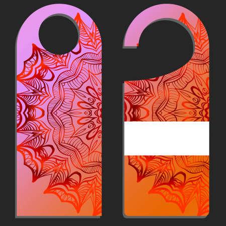 Label hanging tag collection. Design with floral mandala ornament. Vector illustration. Ilustração