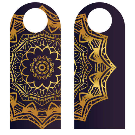 paper label or cloth tag . with floral mandala ornament. Vector illustration. Imagens - 111258986