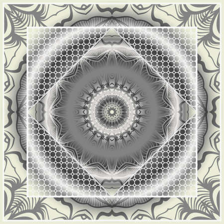 Design for square fashion print. For pocket, shawl, textile, bandanna. Mandala floral pattern. Vector illustration