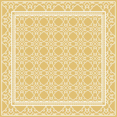 Design print. The pattern of geometric ornament. Vector illustration. The idea for design prints for neck scarves, carpets, bandanas. 矢量图像