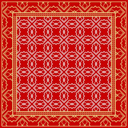Design print. The pattern of geometric ornament. Vector illustration. The idea for design prints for neck scarves, carpets, bandanas. Vectores