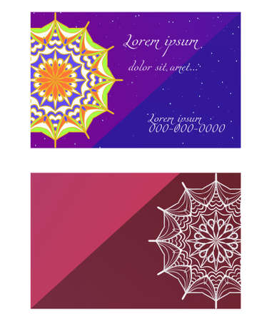 Templates card with mandala design. Heathcare, lifestyle flyer. Vector illustration. The front and rear side