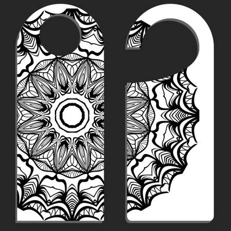 paper label or cloth tag . with floral mandala ornament. Vector illustration.
