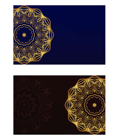 Vintage cards with Floral mandala pattern. Vector template. The front and rear side. Illustration