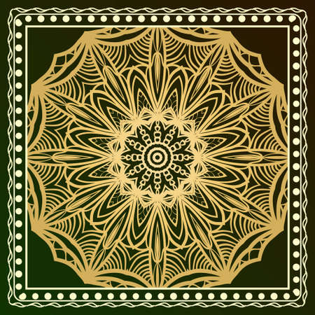 Floral Geometric Pattern with hand-drawing Mandala. illustration. For fabric, textile, bandana, scarg, print Иллюстрация