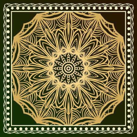 Floral Geometric Pattern with hand-drawing Mandala. illustration. For fabric, textile, bandana, scarg, print Illustration
