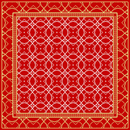 Design of a Scarf with a Geometric Pattern . for Scarf Print, Fabric, Covers, Scrapbooking, Bandana, Pareo, Shawl. Vector illustration Çizim