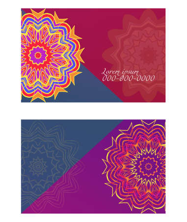 Visit Card template with floral mandala pattern. Vector template. Islam, Arabic, Indian, Mexican ottoman motifs. Hand drawn background.