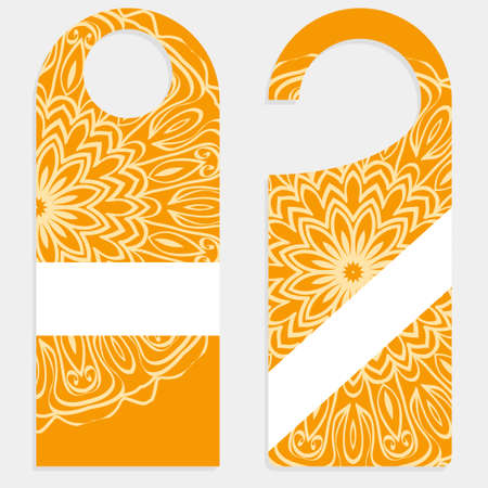 set of door hangers isolated on white background. Design with floral mandala ornament Stok Fotoğraf - 127726397
