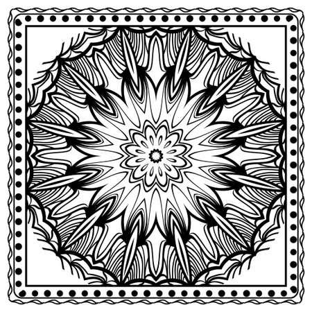 Decorative colorful ornament with round mandala decoration. symmetric pattern . For print Bandanna, shawl, tablecloth, fabric fashion, scarf, design. Stok Fotoğraf - 127726405