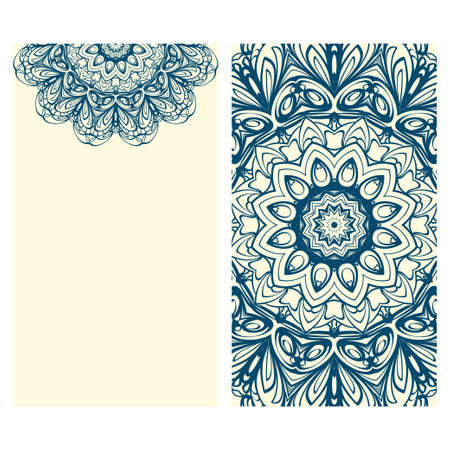 The front and rear side. mandala design elements. Wedding invitation, thank you card, save card, baby shower. Vector illustration