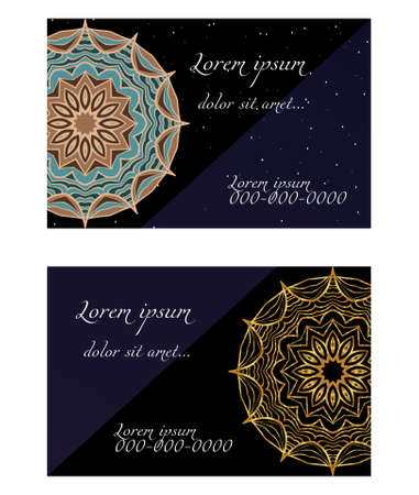 Design Vintage cards with Floral mandala pattern and ornaments. Vector illustatration. The front and rear side. Stok Fotoğraf - 127726409
