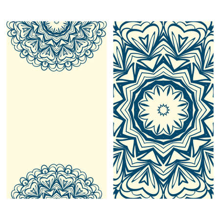 Design Vintage cards with Floral mandala pattern and ornaments. Vector illustatration. The front and rear side.