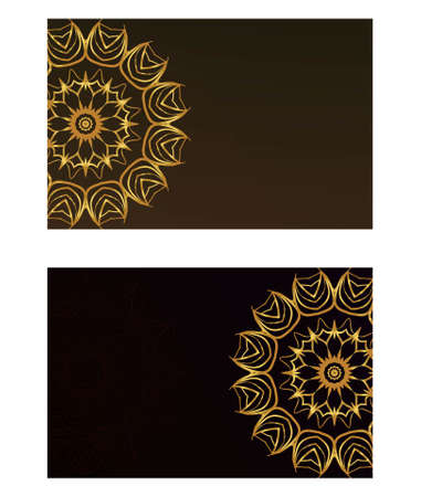 Ethnic Mandala ornament. Templates with mandalas. Vector illustration for congratulation or invitation. The front and rear side. Stok Fotoğraf - 127726414
