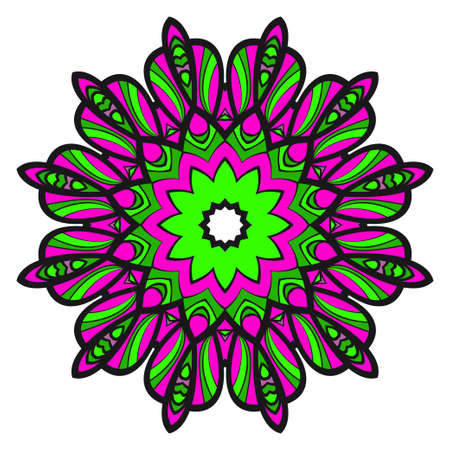 Mandala Style Vector Shapes. Decorative Cicle ornament. Floral design. Stok Fotoğraf - 127726415