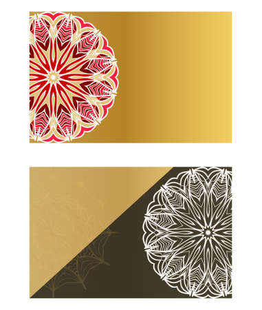 The front and rear side. mandala design elements. Wedding invitation, thank you card, save card, baby shower. Vector illustration Stok Fotoğraf - 127726418
