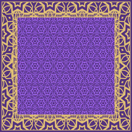Design with abstract hand drawn floral geometric pattern with decorative element. Vector illustration. Template design for card, shawl, bandanna, fashion print. Stok Fotoğraf - 127726419