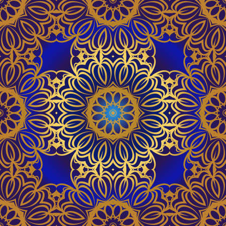 Decorative colorful ornament with round mandala decoration. symmetric seamless pattern . For print Bandanna, shawl, tablecloth, fabric fashion, scarf, design.