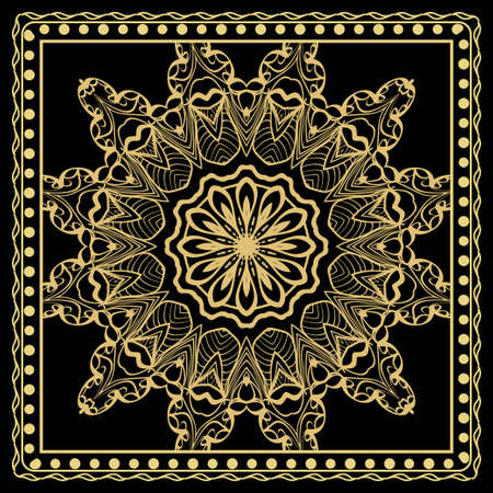 Decorative colorful floral ornament with decorative border. Ethnic mandala decoration. For fashion print, bandanna, tablecloth, neck scarf.