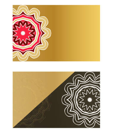 Vector mandala pattern. two template for flyer or invitation card design. for banners, greeting cards, gifts tags Stok Fotoğraf - 127726426