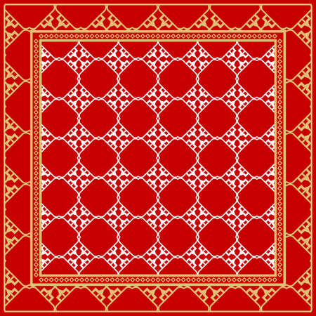 Design of a Scarf with a Geometric Pattern . Vector illustration. Seamless. For Print Bandana, Shawl, Carpet, tablecloth, bed cloth, fashion. Stok Fotoğraf - 127726429