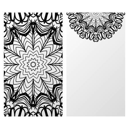 Card template with floral mandala pattern. Business card for fitness center, sport emblem, meditation class. Vector illustration Çizim