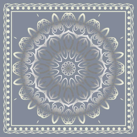 Template Print for Fabric. Pattern of floral geometric ornament with Border. illustration. Seamless. For Print Bandana, Shawl, Carpet. Stock fotó - 127726438