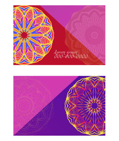 Relax cards with mandala formed flowers, boho style, vector illustration. For wedding, bridal, Valentines day, greeting card invitation Çizim