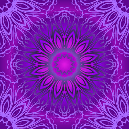 Floral Geometric Pattern with hand-drawing seamless. illustration. For fabric, textile, bandana, pillowcarpet print Stok Fotoğraf - 127726444